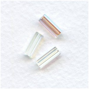 Crystal AB Czech Glass Hex Tube Beads 10x4mm