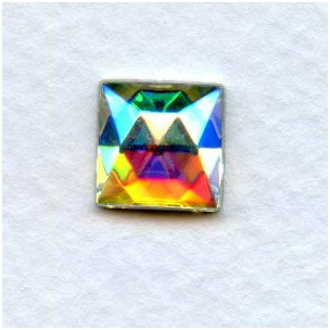 ^Crystal AB Square Glass Flat Back Stones 10x10mm