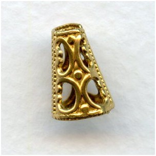 Cone Shape Filigree Bead Cap Raw Brass (6)