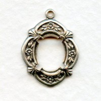 Floral Edge Open Back 10x8mm Settings Oxidized Silver (2)