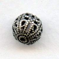 Filigree Beads 10mm Round Oxidized Silver