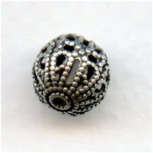 Filigree Beads 10mm Round Oxidized Silver (12)