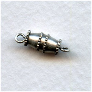 Vintage Style Barrel Clasps Oxidized Silver (6)