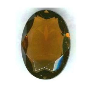 Smoked Topaz Glass Oval Unfoiled Jewelry Stones 10x8mm ^