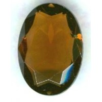 Smoked Topaz Glass Oval Unfoiled Jewelry Stone 25x18mm ^