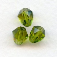 Olivine Bell Shape Faceted Glass Beads 9x8mm