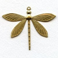 Detailed Large Dragonfly Pendants Raw Brass