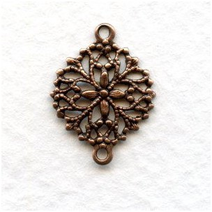 Round Filigree Connectors Oxidized Copper (12)