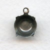 Round Setting Pendant 47ss Oxidized Silver