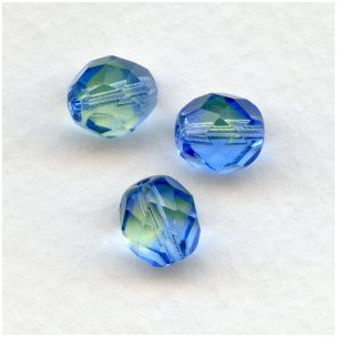 Lime and Light Blue Glass Faceted Beads Round 8mm