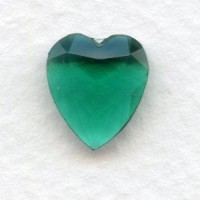 ^Emerald Glass Heart-Shape Stones Unfoiled 12x11mm