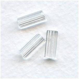 ^Crystal Czech Glass Hex Tube Beads 10x4mm