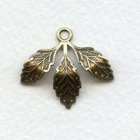 Leaf Cluster with Loop Oxidized Brass 28x23mm