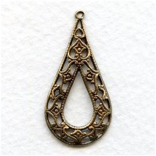 Grand Filigree Pendant Hoops Oxidized Brass 35mm (6)