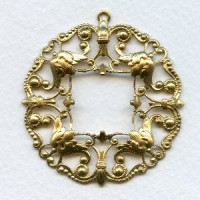 Ornately Detailed Pendant Filigree Frame Raw Brass