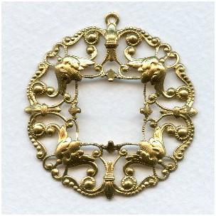 Ornately Detailed Filigree Pendant Frame Raw Brass (1)