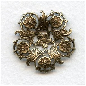 Flowers and Filigree Round Connector Oxidized Brass (3)