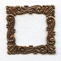 Ornate 47mm Square Stamping Oxidized Copper