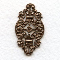 Victorian Style Filigree Oxidized Copper 33mm (6)