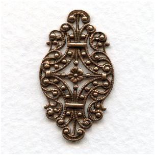 Victorian Style Filigree Oxidized Copper 33mm (6)