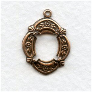 Floral Detailed Settings 10x8mm Oxidized Copper