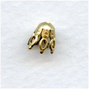 Bead Caps for Pear Shape Beads Raw Brass 7x6mm