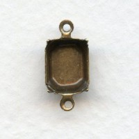 Octagon Setting Connectors Oxidized Brass 10x8mm