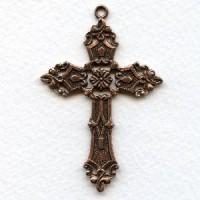 Ornate Cross Pendant Oxidized Copper