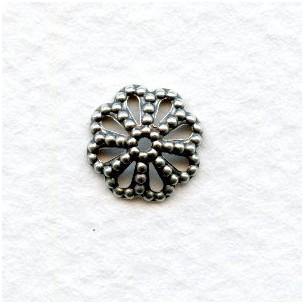 Filigree Bead Caps 9mm Oxidized Silver (50)