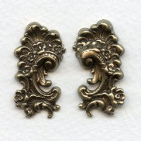 Victorian Detail Flourishes Right and Left Oxidized Brass