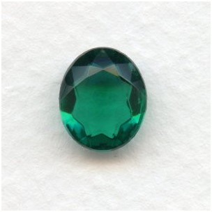 Emerald Glass Oval Unfoiled Jewelry Stones 12x10mm