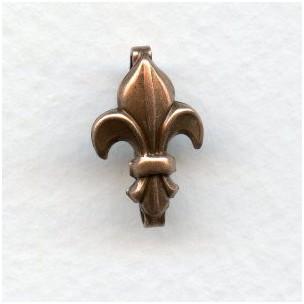 ^Fleur-de-Lis Bails 18mm Oxidized Copper (3)