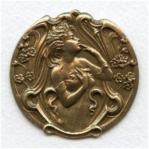 Art Nouveau Lady in a Garden Oxidized Brass Stamping (1)