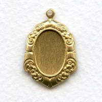 Floral Detail Pendant Settings Raw Brass 14x10mm