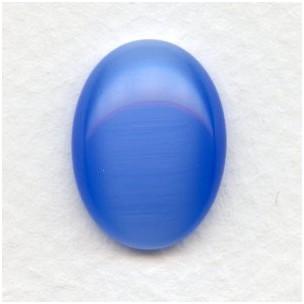 Cat's Eye Effect Light Blue Glass Cabochons 20x15mm