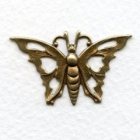 Art Deco Style Pierced Butterfly Oxidized Brass 35mm