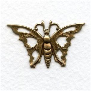 Art Deco Style Pierced Butterfly Oxidized Brass 35mm (6)