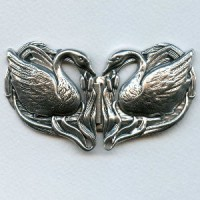 Double Swans Buckle Stampings Oxidized Silver