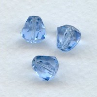 Light Sapphire Bell Shape Faceted Glass Beads 9x8mm
