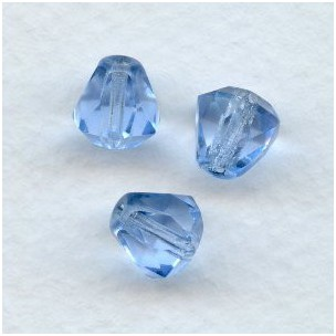 ^Light Sapphire Bell Shape Faceted Glass Beads 9x8mm