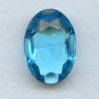 Aqua Glass Oval Unfoiled Jewelry Stone 25x18mm