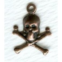 Small Skull and Crossbones with Loop Oxidized Copper