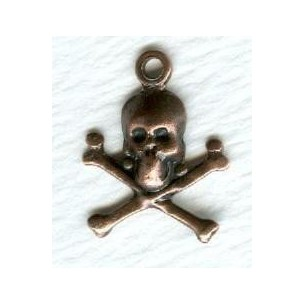^Small Skull and Crossbones with Loop Oxidized Copper (12)