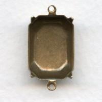 Octagon Settings 2 Loops 18x13mm Oxidized Brass