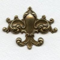 Fleur-de-lys Oxidized Brass Stamping 55mm (1)