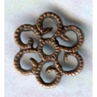 Small Round Filigree Flat Oxidized Copper Plated Brass