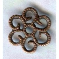 ^Small Round Filigree Flat Oxidized Copper