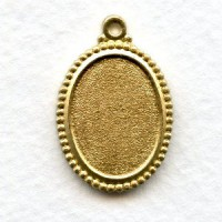 Beaded Edge Setting Solid Raw Brass 18x13mm