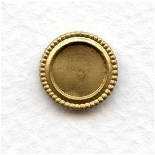 Beaded Edge Settings Solid Raw Brass 8mm (2)