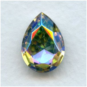 ^Pear Shaped Crystal AB Foiled Rhinestone 18x13mm